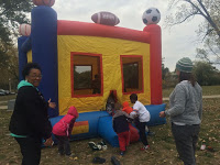 Community snow globes and the bounce house were hotspots
